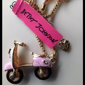 Jewelry - Pink Scooter Motorcycle Necklace (moving wheels)